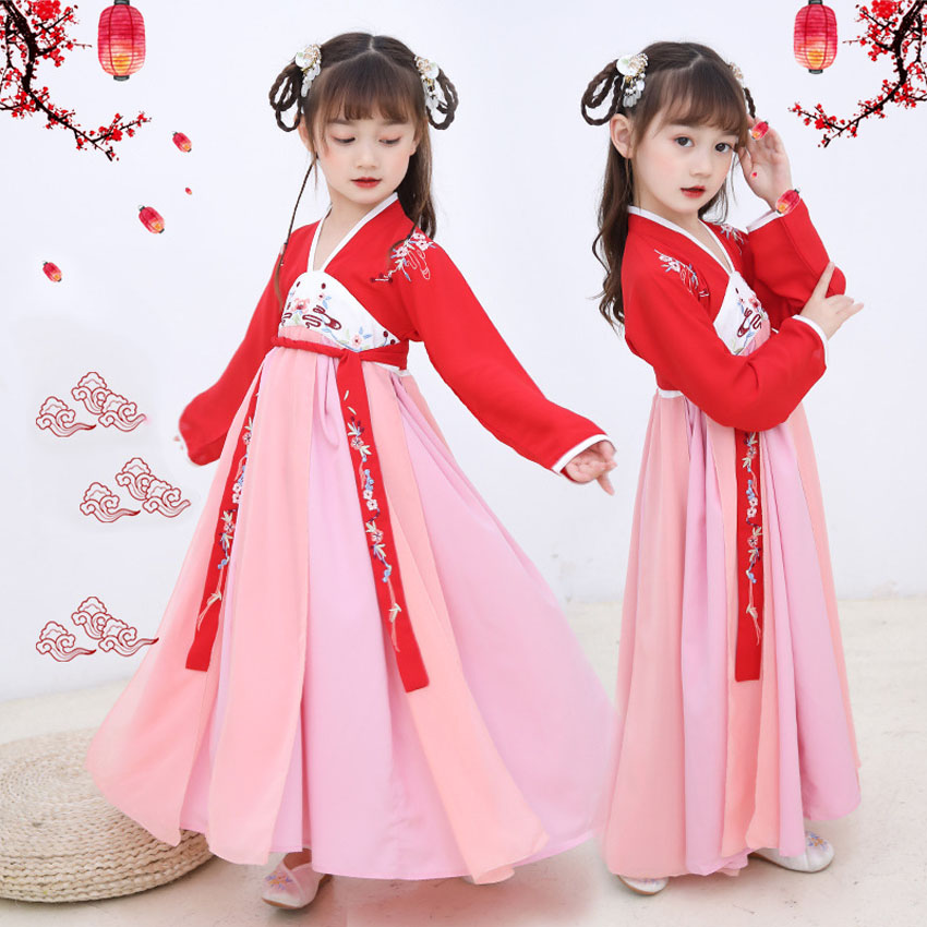 Toddler Girls Chinese Folk Dance Costumes Oriental Chinese Style Retro Hanfu Dress Embroidery Kids Tang Suit Performance