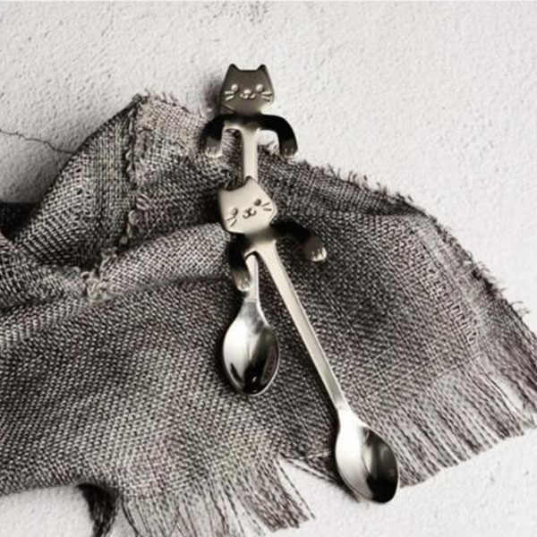 COD Stainless Steel Cat Coffee Drink Spoon Tableware Kitchen Tool Hanging cup NS