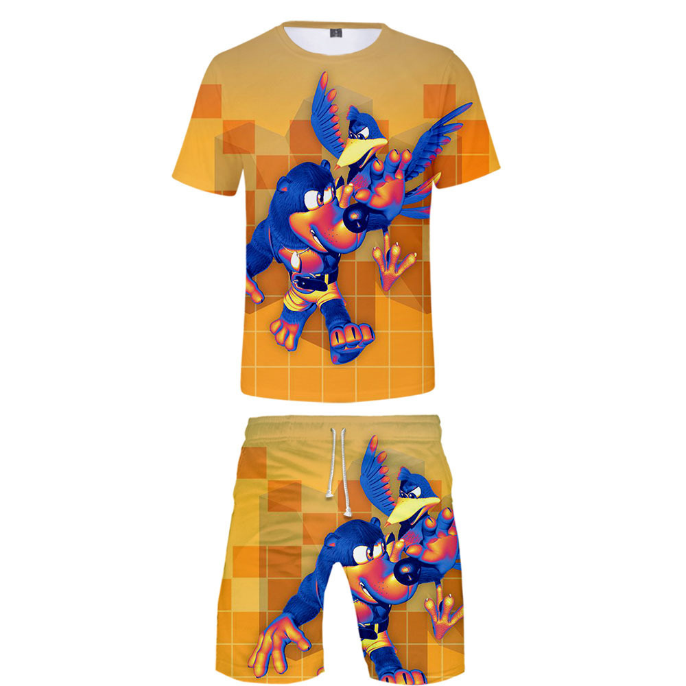 Summer Hot Sales Banjo Bear Big Adventure Banjo-Kazooie 3D Beach Shorts + Short Sleeve T-shirt Set