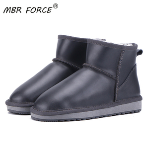 MBR FORCE/новые женские зимние ботильоны из натуральной воловьей кожи с шерстяной подкладкой, короткие зимние ботинки, большие размеры 33-44
