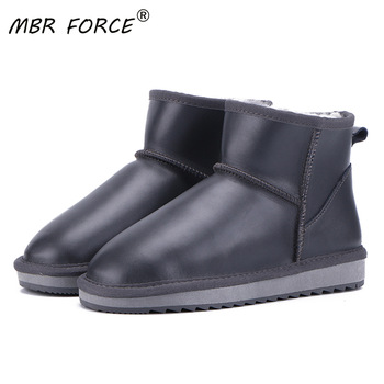 MBR FORCE new Cowhide genuine Leather Wool Lined Women Winter Ankle Snow Boots Women Short Basic Winter Shoes Large Size 33-44 aiyuqi genuine leather female winter boots full cowhide waterproof wool lined fashion women booties female bare black boots