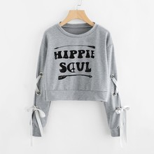 Women Long Sleeve  Sweatshirt Winter Women's Casual Lace Up Long Sleeve Pullover Crop Top 8.23 lace up studded long sleeve crop top