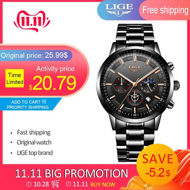 Mode hommes montres LIGE Top marque étanche Sport montre chronographe hommes décontracté en acier inoxydable Quartz horloge Relogio Masculino