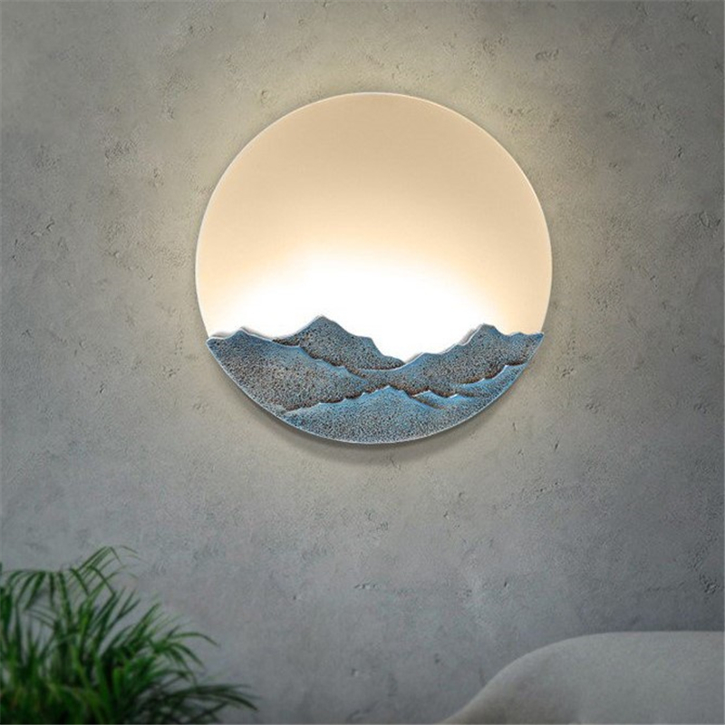 Chinese Modern Simple Wall Lamps Bedroom Bedside Lamp Creative Resin Club Office Bar Stair Aisle Decorative Wall Light Fixtures