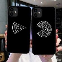 Paar Lustige Pizza Beste Freunde Telefon Fall Für iPhones X XS MAX XR 11 Pro 7 8 6 6s plus Schwarz Paar Weiche Rückseitige Abdeckung Funda Shell