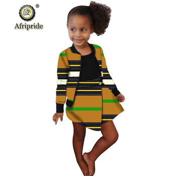 African Clothing for Children Kids African Girl Dresses Wax Dashiki Ankara Kids Jacket and Skirts 2 Piece Set AFRIPRIDE S1940014