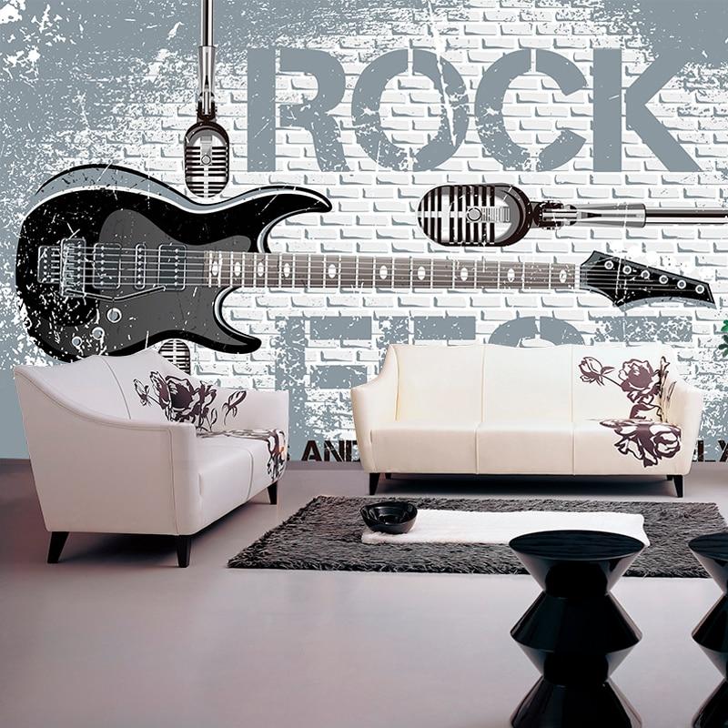 Drop Shipping Custom Size Photo Wallpaper European Rock Guitar Murals TV Background Wall Papers Wallpaper Murals 3d Modern