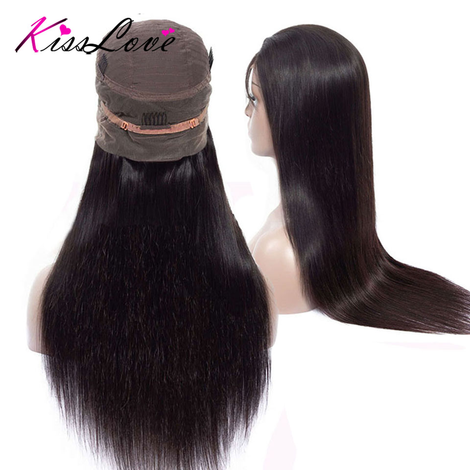 Brazilian 360 Lace Frontal Human Hair Wigs For Women Remy Hair Straight Human Hair Wigs With Baby Hair Natural Hairline KissLove