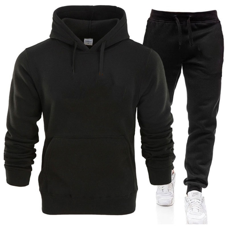 Classic Solid Color Fashion Men Hoodie Suit Hoodies And Sweatpants Cotton Casual Pullover Sweatshirt Sets