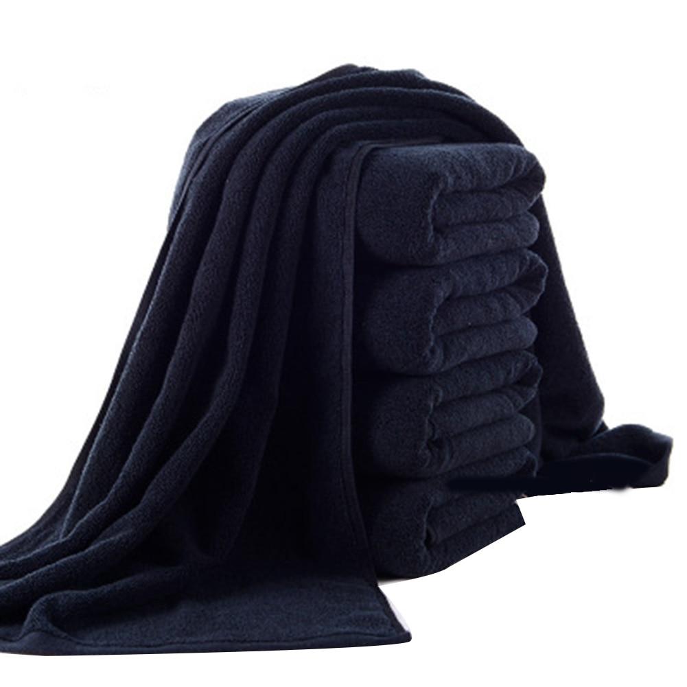 Черное банное полотенце из чистого хлопка, 70x140 см, мягкое супервпитывающее полотенце для ванной, отеля, пляжа, душа, спа-полотенце, 35x75 см, ...