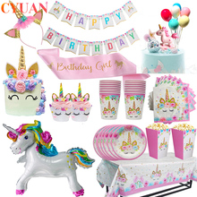 Napkins Tablecloth Banner Topper Paper-Cup Shower-Decorations Unicorn Party-Supplies