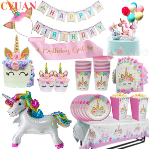 Unicorn Party Supplies Tableware Set Unicorni Tablecloth Paper Cup Napkins Banner Cake Topper Wedding Baby Shower Decorations