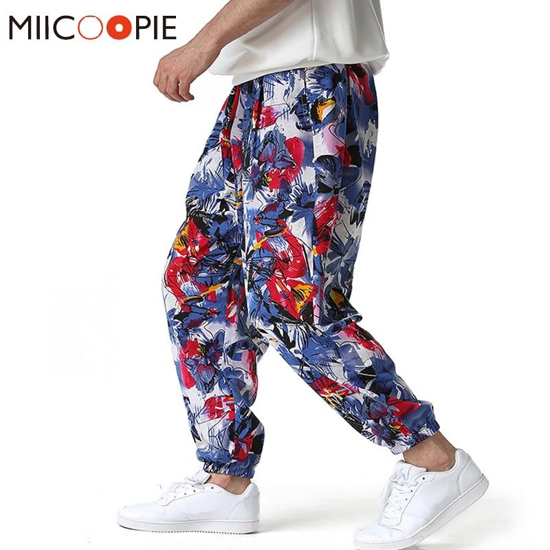 2021 Fashion Baggy Cotton Harem Pants Men Vintage Floral Print Jogger Sweatpants Mens Hip Hop loose Pantalones Hombre Streetwear