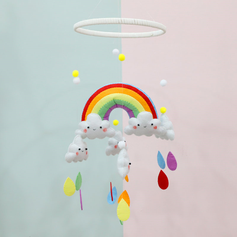 Handmade Rainbow Clouds Aeolian Bells Baby Bed Ornaments DIY Craft Kit Aeolian Bells Wall Hanging Decor Non Finished Felt Shapes