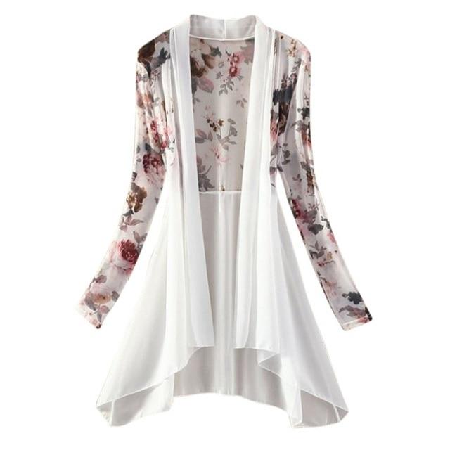 Women Long Chiffon Floral Sunscreen Ladies Cardigan Blouses Summer Beach Ladies Shirt Tops