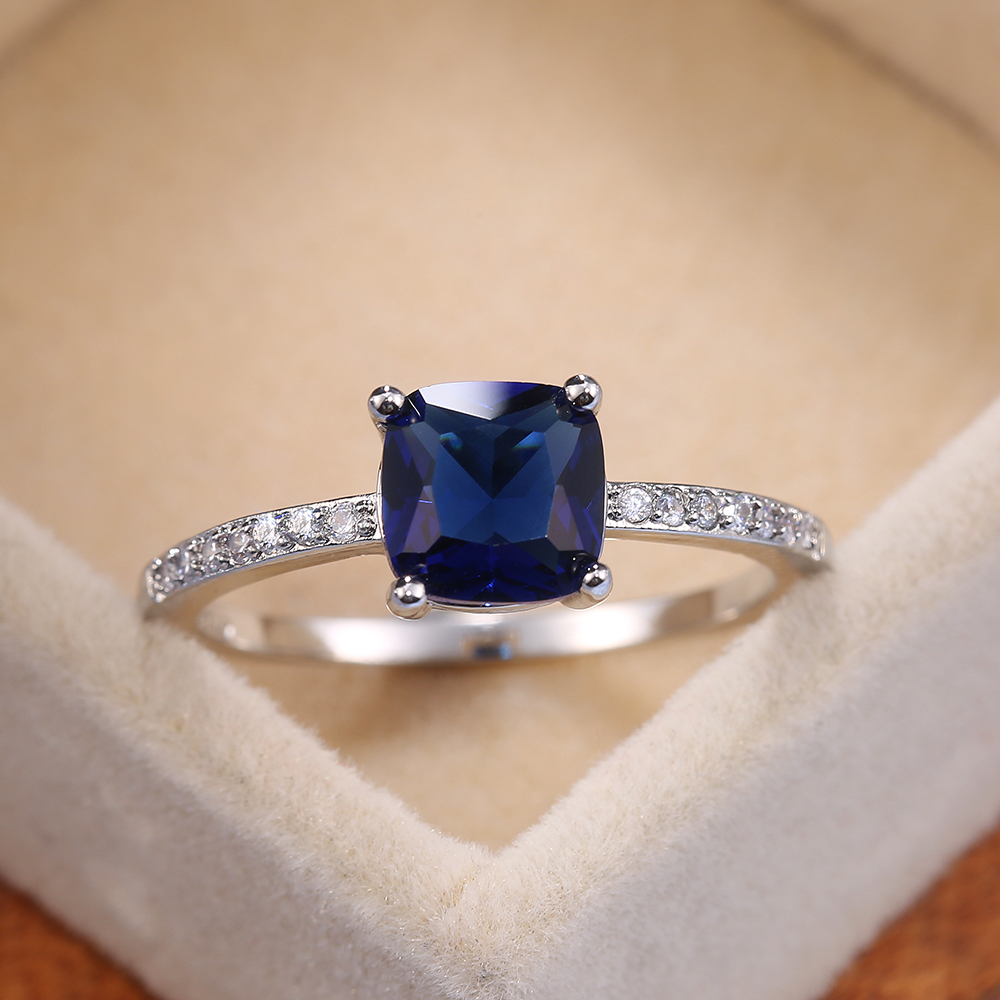 Huitan Square Blue Series Stone Women Rings Simple Minimalist Pinky Accessories Ring Band Elegant Engagement Jewelry Rings
