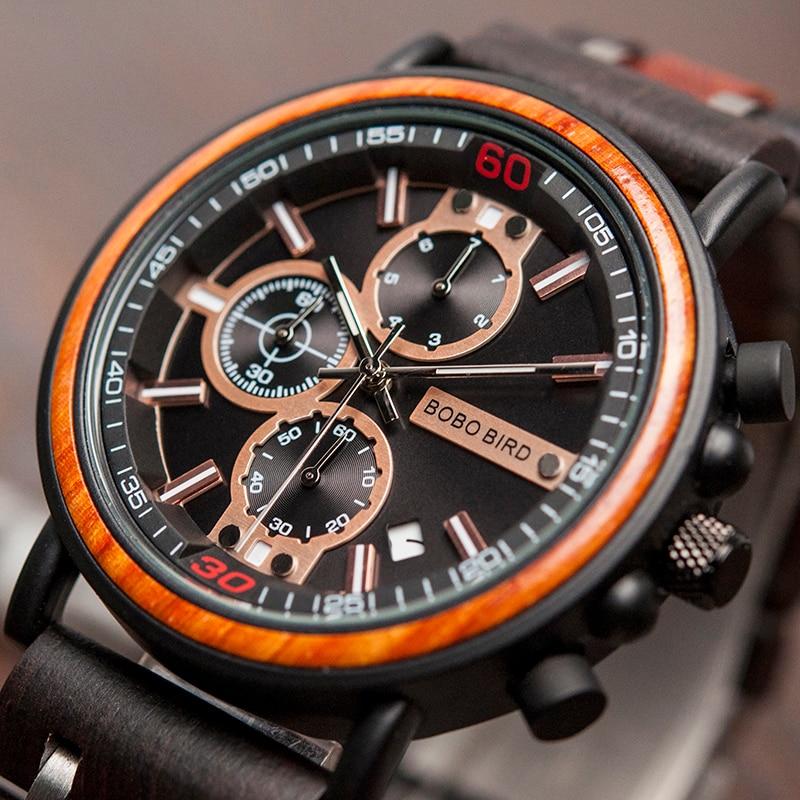 BOBOBIRD 2020 Wooden Watch Men Wristwatches Date Show Luminous Hand Chronograph Relogio Masculino With Gift Box L-S18-1