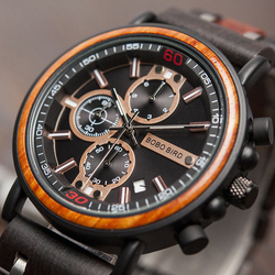Bobobird 2019 relógio de madeira masculino relógios de pulso data mostrar luminoso mão cronógrafo relogio masculino com caixa presente L-S18-1