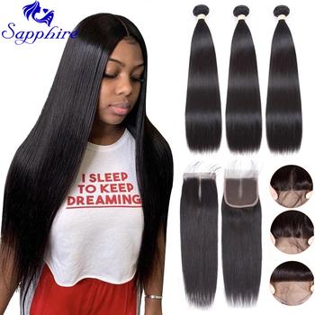 Sapphire proste zestawy z zamknięciem brazylijskie włosy wyplata wiązki z zamknięciem wiązki ludzkich włosów z zamknięciem do przedłużania włosów tanie i dobre opinie = 10 Remy włosy CN (pochodzenie) Brazylijski włosy P3+1 Brazilian Straight Hair Bundles with Closure 100 Human Hair Bundles With Closure Human Hair Weave