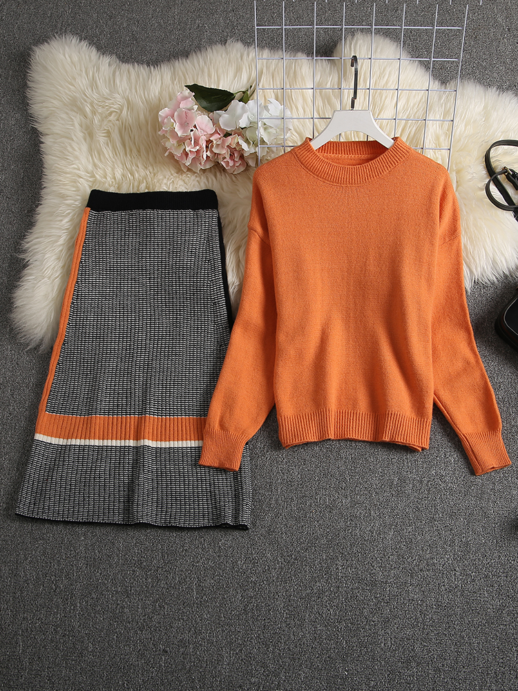 ALPHALMODA 2019 Autumn New Arrived Women Knitting Sweater Skirt Suits Bright Color Youthful Winter Knitting Outfit 2pcs Set 91