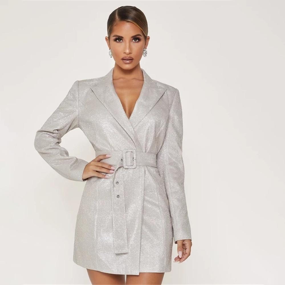 Fancy Silver Glitter Long Sleeve Coat -Fashion Jacket | beatoutfit