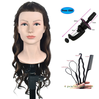 "20"" Brown Training Head With Shoulder High Grade Hairdressing Head Nice Dummy Manequim Long Hair Mannequin Head"