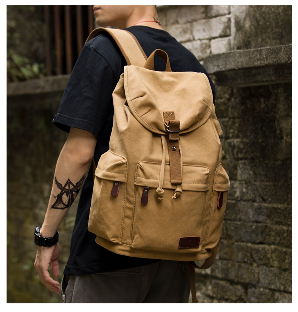 TANGHAO Canvas <font><b>Backpack</b></font> <font><b>Unisex</b></font> Vintage Casual Rucksack 15.6inch Laptop <font><b>Backpack</b></font> W/ USB Charging Port Schoolbag Student Mochia image
