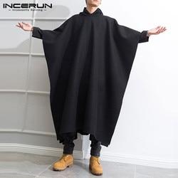 Men Loose Black Coats INCERUN Fashion Irregular Hooded Cloak Autumn Winter Man Long Sleeve Trench Retro Punk Outwear Jackets 5XL