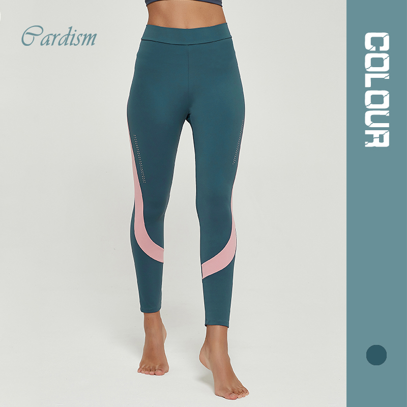Cardism Women's Yoga Sport Pants  High Waist Gym Sports Leggings For Women Sportswear Sexy Ankel-Length Splicing Woman Pants 1