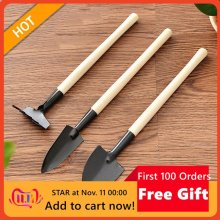 3pcs/Set Mini Gardening Tools Wood Handle Stainless Steel Potted Plants Shovel Rake Spade for Flowers Potted Plant