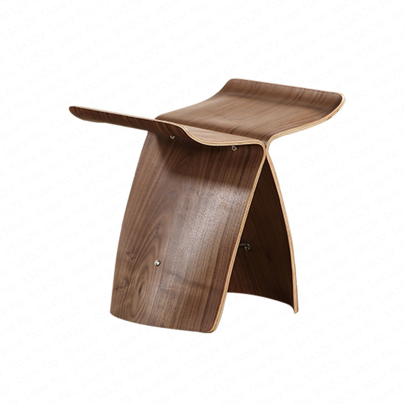 2B Creative Solid Wood Butterfly Stool Solid Wood Foot Stool Home Adult European Curved Wooden Bench Living Room Shoe Bench