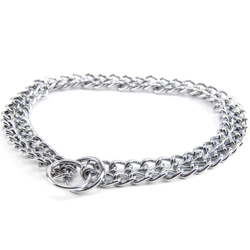 Dog Double Row-Iron Chain Neck Ring P Pendant Necklace Pet Traction Rope Multi-Specification Choice Pet Supplies