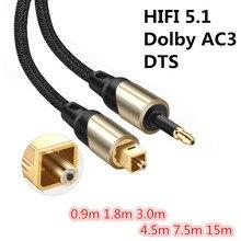 Toslink to Mini Toslink Cable 3.5mm Digital Sound SPDIF Opti