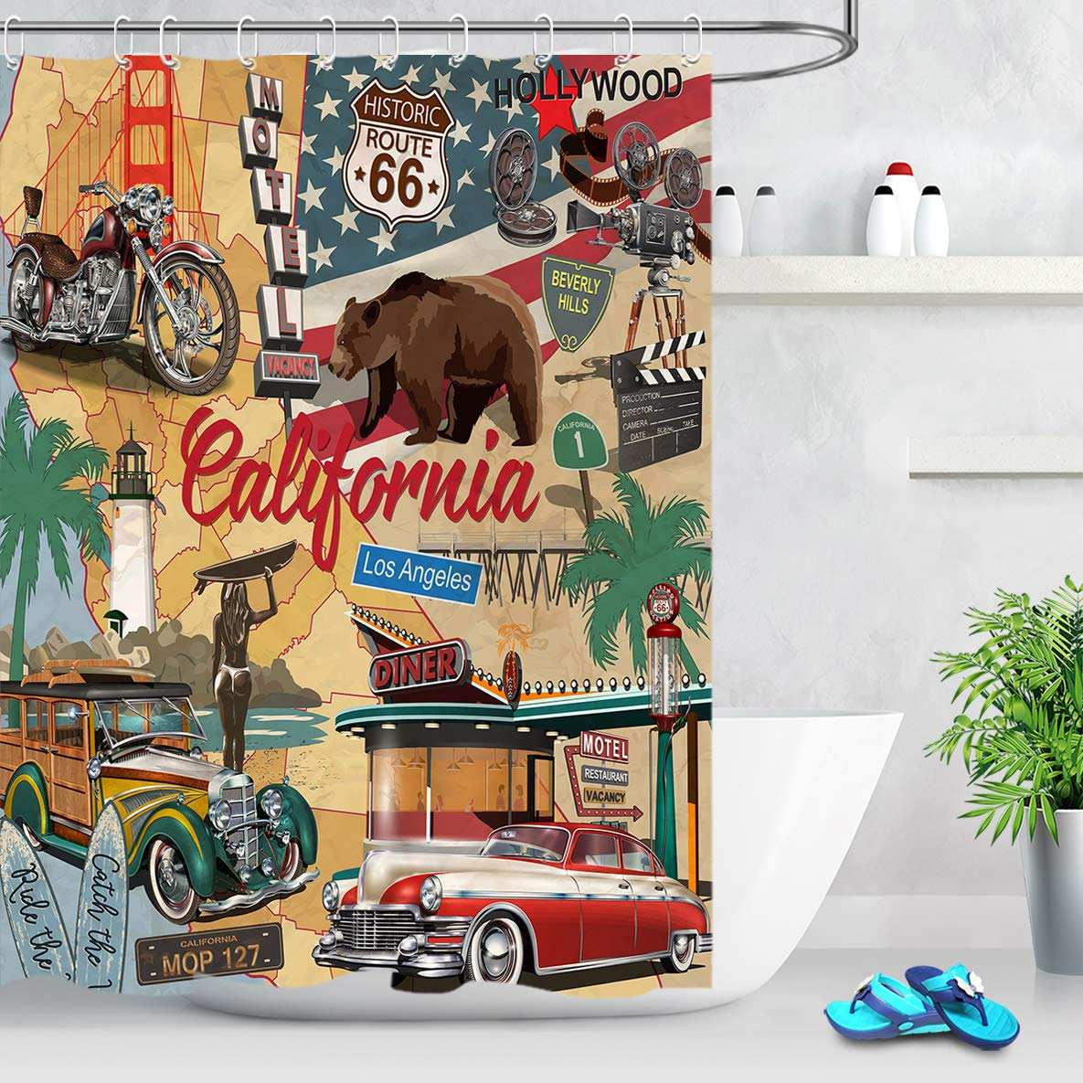 Vintage American Shower Curtain Route 66 Decor with California Historic Bear Shower Curtain