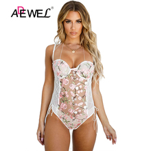 ADEWEL Sexy Transparent Spaghetti Straps Floral Lace Bodysuit Push Up Hollow Out Body Mujer Body Femme Women Backless Bodysuits