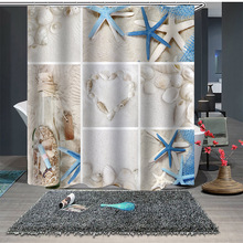 beach conch starfish circles waterproof bath curtain Shower Curtain Fashion Beach Series Starfish Bath Curtain Bathroom Decoration Bath Supplies Creative Funny Beach Shower Curtain