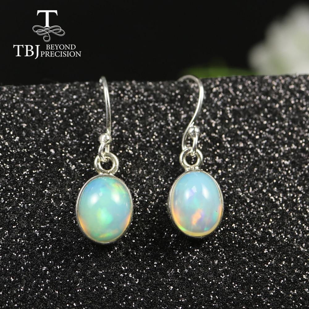 Simple Hook 3ct Opal Earring Oval 8*10mm Natural Ethiopian Opal Jewelry 925 Sterling Silver Fine Jewelry For Women Best Gift Tbj