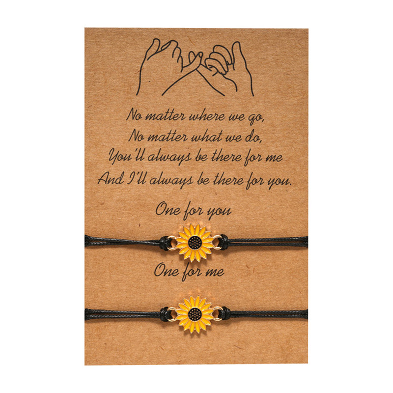 Vintage Jewelry Sunflower Designer Bracelets Gold Sunflower Quote Wish Bracelet Pinky Promise Couple Jewelry Women