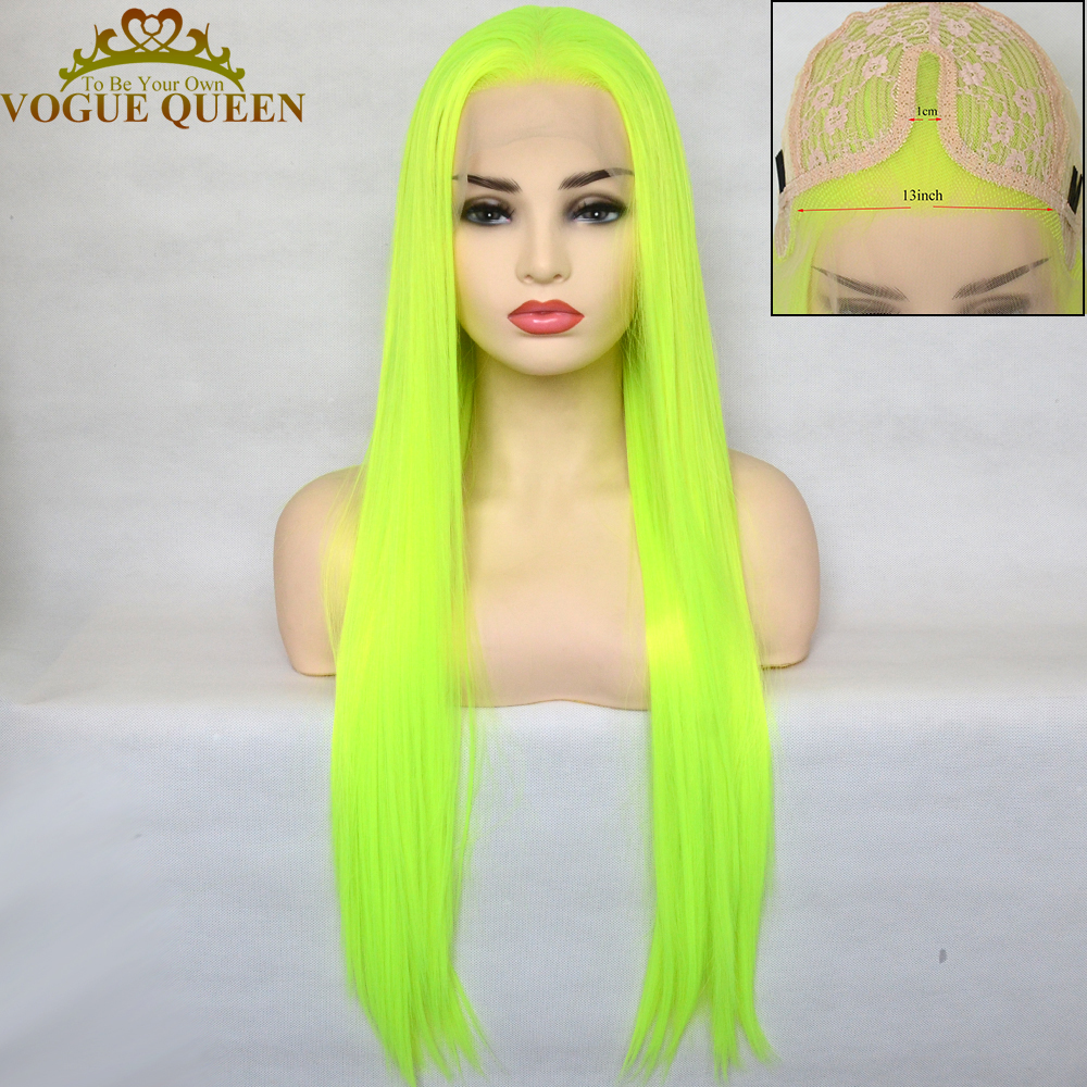 Peluca con malla frontal para mujer, pelo sintético, largo y recto, color amarillo, verde brillante, Reina de la moda