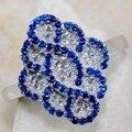 Роскошные Великолепные женские ювелирные изделия, кольца из синего циркона для свадьбы, помолвки, набор подарков, Размер 6 7 8 9 10 11 12 13