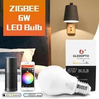 GLEDOPTO Zigbee Smart Home lampadina a LED 6W compatibile con Hub Bridge Tuya Conbee SmartThings App Alexa Echo Plus Voice Control