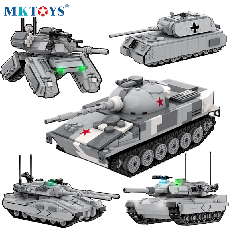 Titan Mech Battle Tank Building Blocks Model with Soldier Bricks Military WW2 Army German Chariot Technical Toys For Children