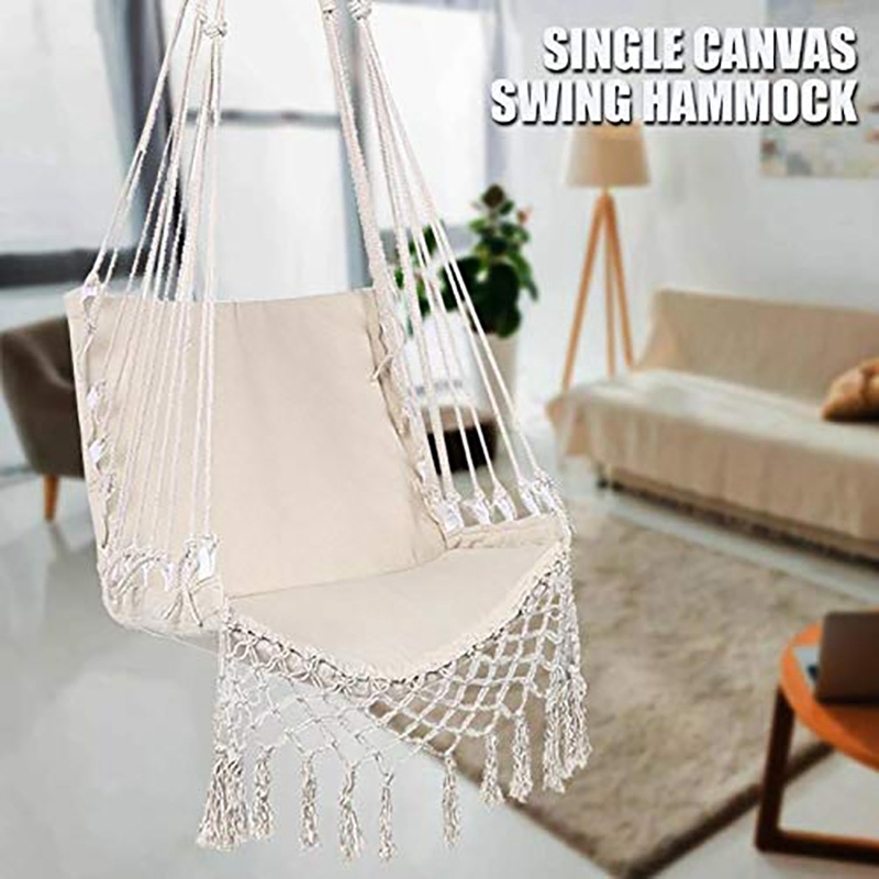 Hot Deal 33d1 Nordic Style Deluxe Hanging Hammock Chair Hammock Safety Swing Rope Outdoor Indoor Hanging Chair Garden Seat For Child Adult Cicig Co