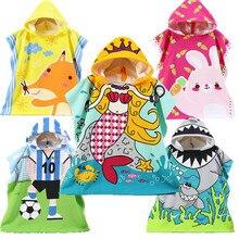Children Cotton Beach Cloak Towel Kids Mermaid Shark Pattern Cartoon Hooded Bath For Baby Boys Girls christmas towel