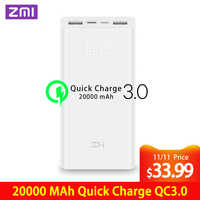 Z mi Powerbank Power Bank 20000 MAh szybkie ładowanie QC3.0 xiao mi bateria podwójna USB 27W 20000mah QB822 dla iPhone iPad Laptop