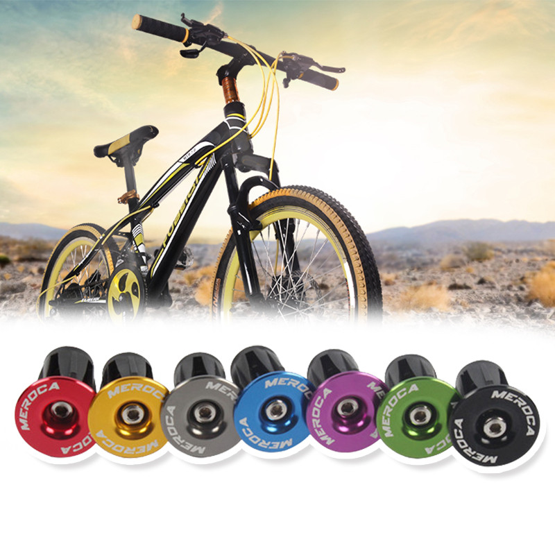 New 1Pair Bike Handlebar Cap <font><b>Bicycle</b></font> Aluminum Alloy Handlebar Durable Bikes End Lock-On Bike Bar Ends Caps Covers <font><b>Bicycle</b></font> <font><b>Parts</b></font> image