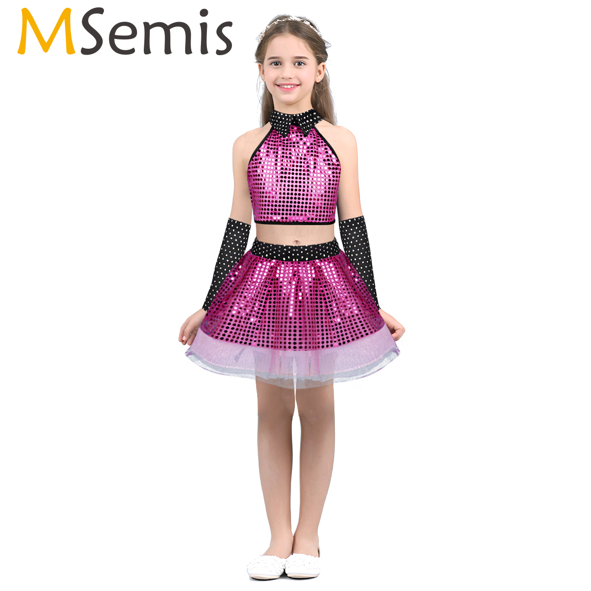 >MSemis Kids Girls Sequins Modern Jazz Dance Costume <font><b>Outfits</b></font> Crop Top Tutu Skirt Arm Sleeves Latin Waltz HipHop Stage Performance