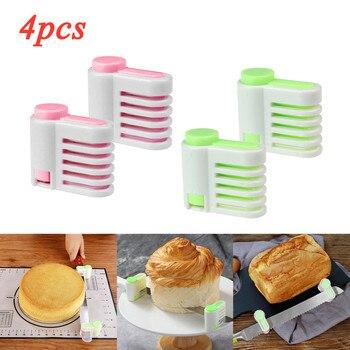 Cortador de pan de 5 capas de 4 Uds., cortador de pan de plástico de calidad alimentaria, cortador de pan, cuchillo de corte, cortador de pan, rebanador de tostadas, horneado de cocina #1