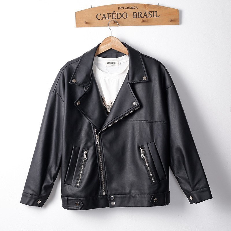 Black Sheep Leather Motorcycle Jackets Ladies Autumn Jacket For Women Woman Loose Coat Female Locomotive Cool Clothes Street Za