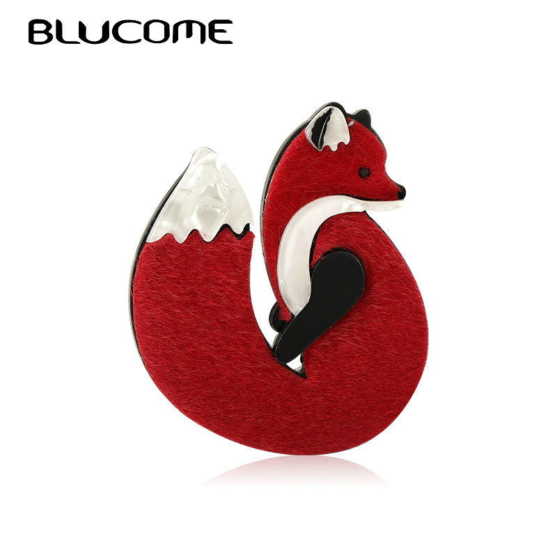 Blucome Lovely Acrylic Leather Fox Brooches Pins Gold Color Handmade Fashion Animal Brooch Scarf Clip Suit Hats Dress Accessory 1